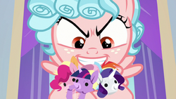 Cozy Glow holding Mane Six puppets S8E26.png