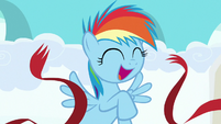 Filly Rainbow Dash crosses the finish line S7E7