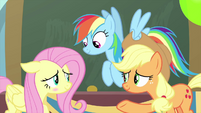Fluttershy blushing at Rainbow and Applejack MLPS3