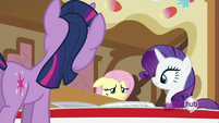 Fluttershy hiding from the others when they found out she uses extensions S2E23