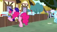 Pinkie Pie dressed as a mailpony S4E12