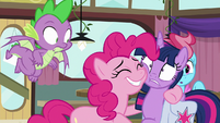 Pinkie Pie with her hoof around Twilight S9E16
