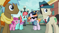 Police Pony and ponies staring at Pinkie S6E3