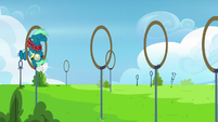 Sky Stinger bumps his head on obstacle ring S6E24