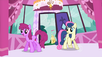 Sweetie Drops and Berryshine enter Rarity's boutique searching for Fluttershy S1E20