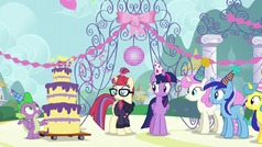 Twilight, Spike, and old friends gather around Moon Dancer S5E12.png