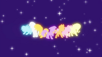 Main cast and Sunset Shimmer pony silhouettes EG2