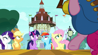 Main five looking up at a flying bird S8E18