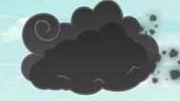 Rainbow Dash flies into the storm cloud S6E7