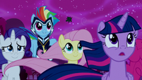 Rarity, Rainbow, and Fluttershy supporting Luna S5E13