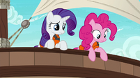 Rarity and Pinkie look over side of the ship S6E22