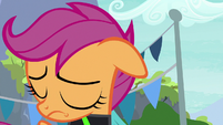 Scootaloo lowers her head in shame S8E20