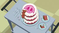 Cake for the sick foals partially eaten S7E3
