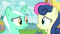 Lyra Heartstrings and Sweetie Drops look at each other S7E15