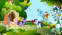 Main ponies at Fluttershy's cottage looking nervous S1E10.png