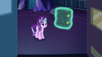 Starlight levitating a spell book off the shelf S6E21