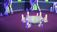 Twilight and Starlight entering the throne room S7E14