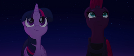 Twilight and Tempest looking at the fireworks MLPTM