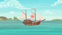 Applejack, Rarity, and Pinkie's ship sets sail S6E22