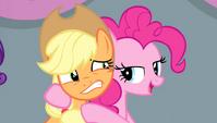 Pinkie Pie with hooves around Applejack S4E24