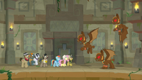 Ponies menaced by guardian-goyles S9E21
