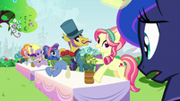 Princess Luna looking at other rose contest ponies S7E10