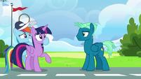 Rainbow Dash plugs Twilight's muzzle S6E24