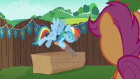 Rainbow Dash sawing a block of wood S6E14