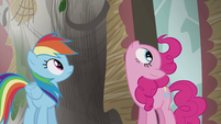 Rainbow and Pinkie looks up S5E8