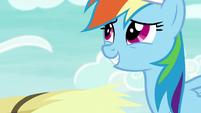 Rainbow looks awkwardly grateful at AJ S9E15