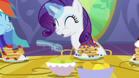 Rarity eating pancakes daintily S5E3