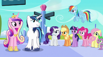 Shining and Cadance looks at Mane 6 and Spike S6E2