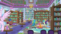 Young Six studying in the library S8E22