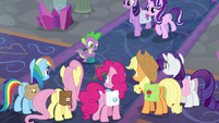 Main ponies and Spike in the school lobby S8E25
