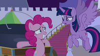 Pinkie Pie looking nervous by the cauldron S9E17