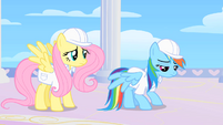 Rainbow Dash looks sad after Dumb-bell, Hoops, and Score laugh at her in the rainbow room S1E16
