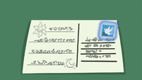 Stamp affixed to Luna's postcard S9E13