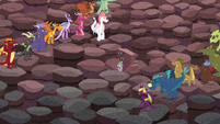 The dragons distance themselves away from Spike to make him more visible to Torch S6E5