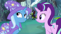 Trixie considers the good-pony-bad-pony tactic S7E17
