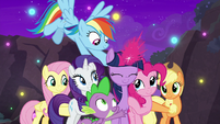 Twilight Sparkle's friends grab onto her S8E26