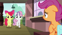 Apple Bloom and Sweetie catch up with Scootaloo S9E12