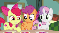 Apple Bloom pointing at cutie mark photos S9E12