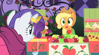 Applejack excited to see Rarity walk over S1E26