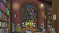 Firelight appears over Starlight, Sunburst, and ponies S8E8