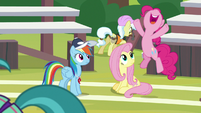 Pinkie Pie cheering for the cheer squad S9E15