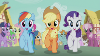 Rainbow, Applejack, and Rarity join the parade S5E18