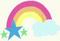 Rainbow with a cloud and three stars