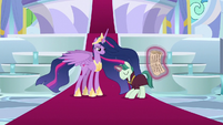 Royal aide bowing to Princess Twilight S9E26