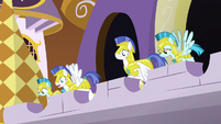 Royal guards watch from the battlement S9E2