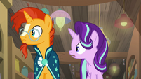 Sunburst and Starlight hear Twilight's excitement S7E24